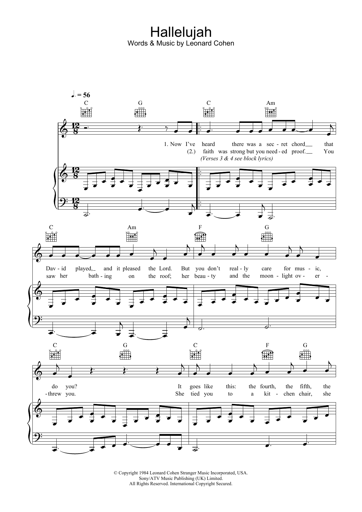 graphic regarding Hallelujah Piano Sheet Music Free Printable identified as Hallelujah