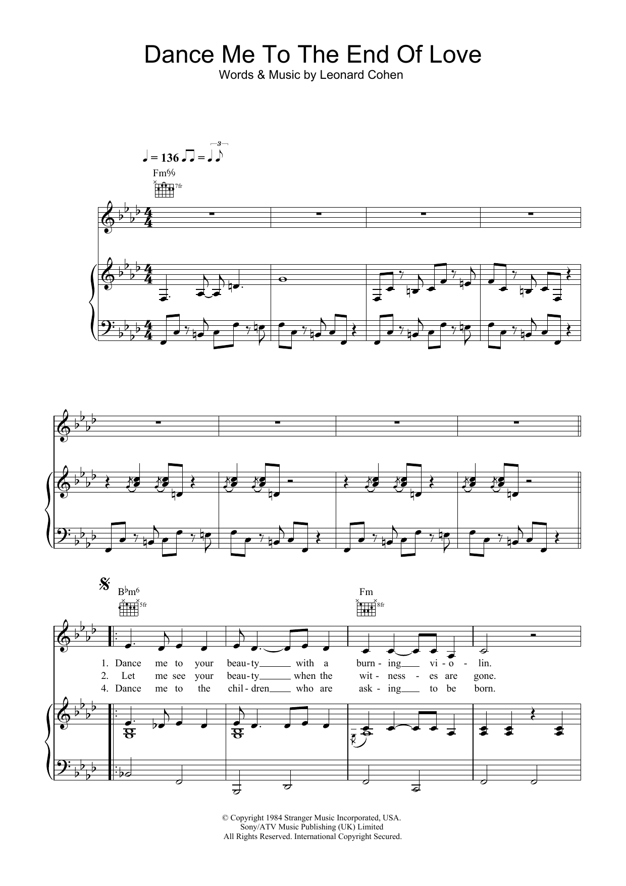Dance Me To The End Of Love Sheet Music By Leonard Cohen For Ukulele Burns Guitar Wiring Diagram Noteflight Marketplace