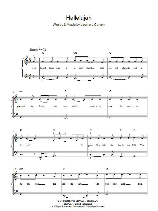 Hallelujah (rufus wainwright) piano cover lesson with chords.