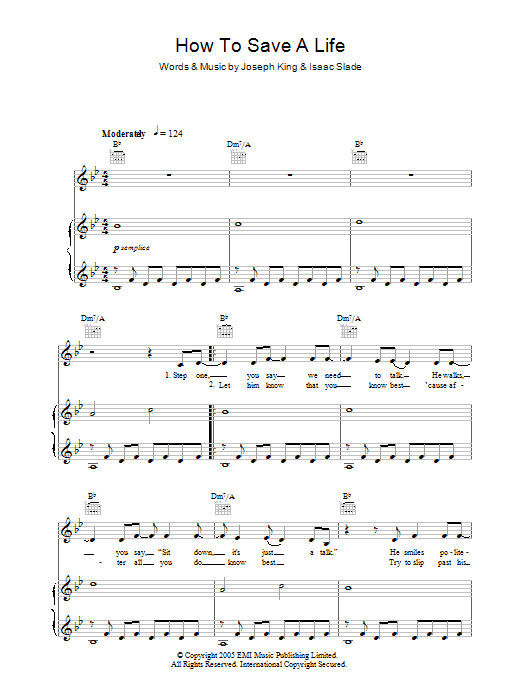 How to save a life the fray piano sheet music pdf