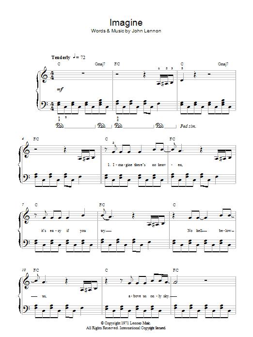 Imagine Sheet Music By John Lennon For Piano Vocal Guitar Noteflight Marketplace