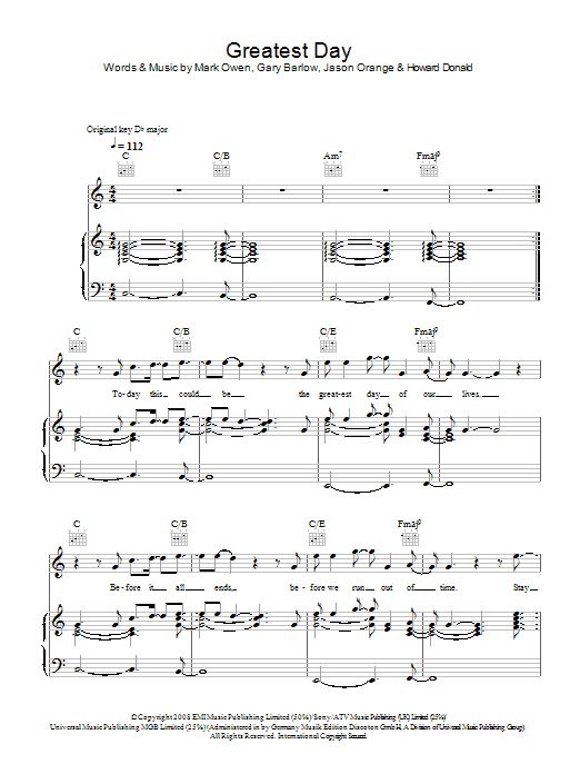 Greatest Day Sheet Music By Take That Noteflight Marketplace