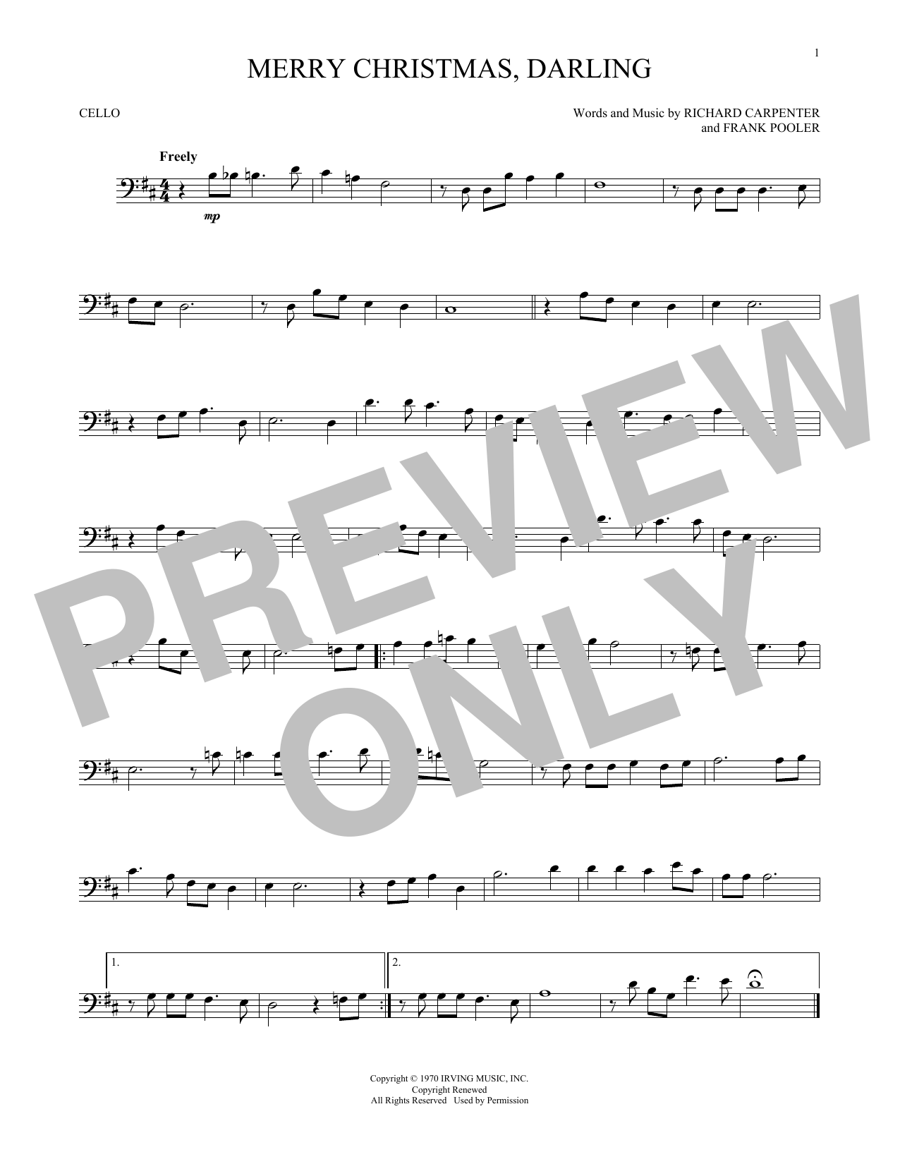 merry christmas darling sheet music by the carpenters noteflight marketplace