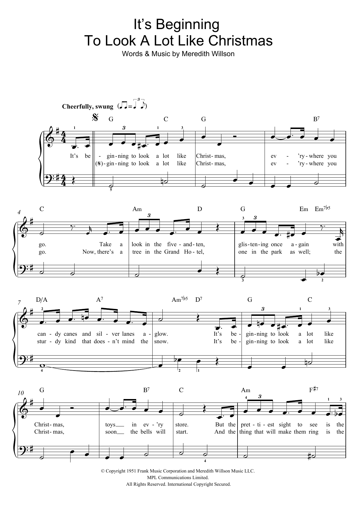 It\'s Beginning To Look A Lot Like Christmas Sheet Music by Perry ...