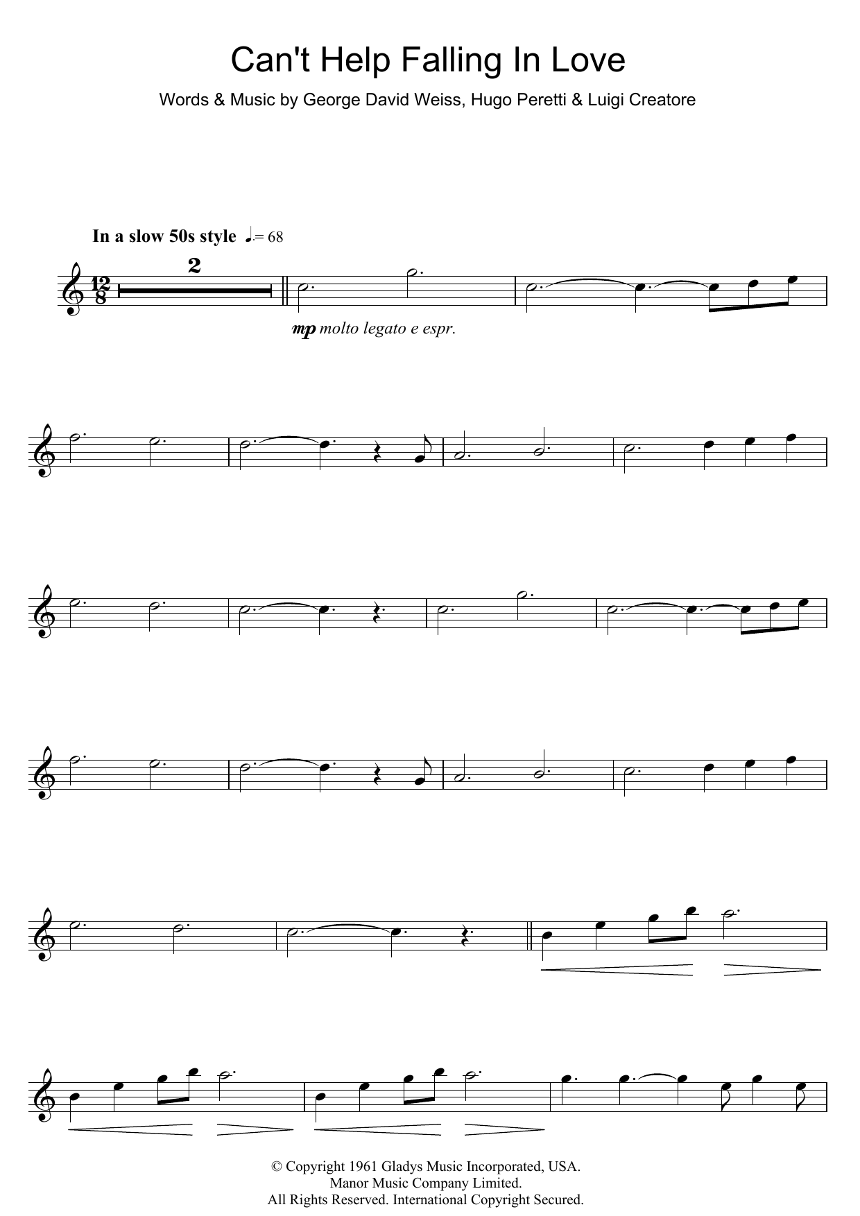 can't help falling in love sheet music by ub40 for piano/keyboard