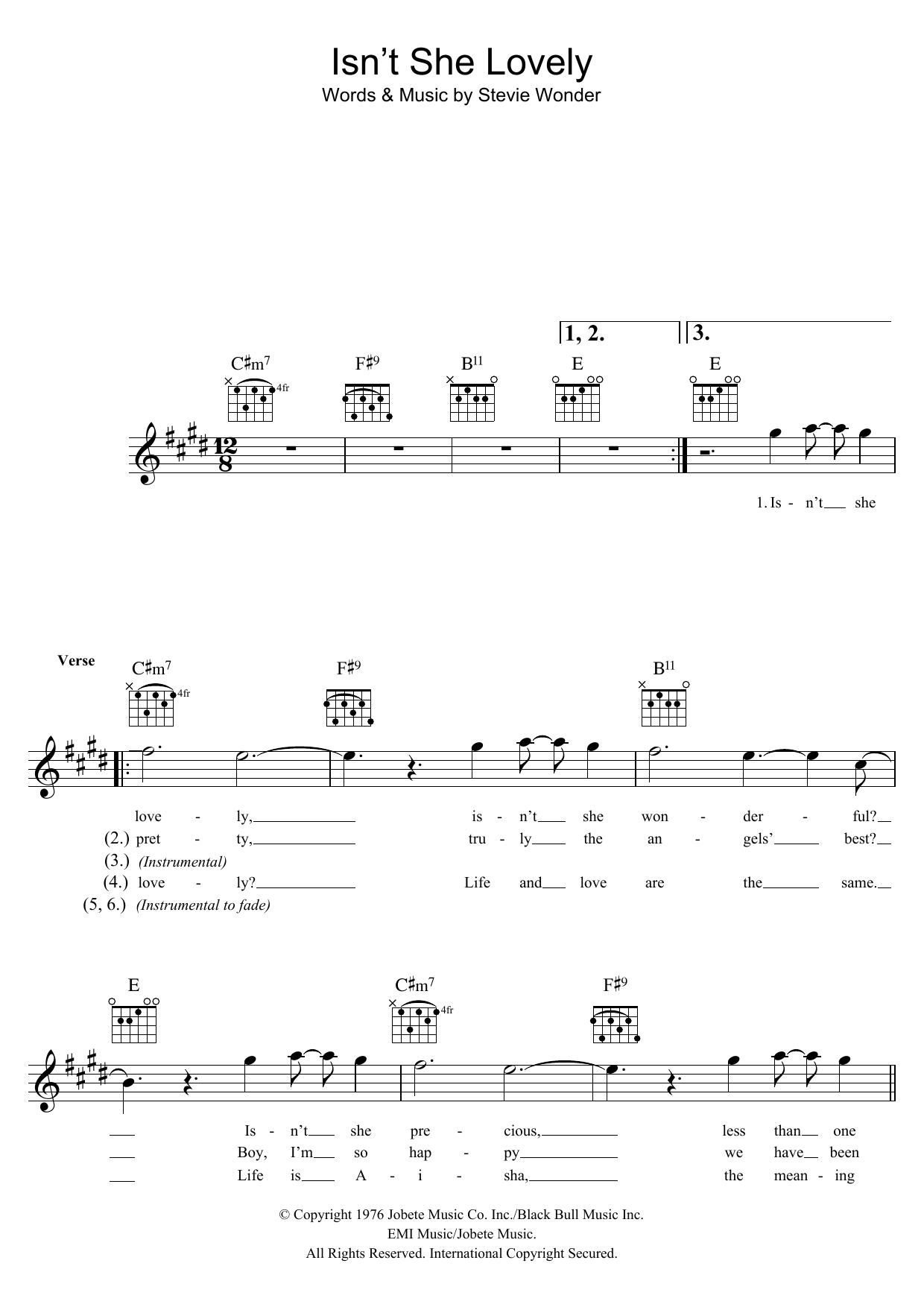 Isn T She Lovely Sheet Music By Stevie Wonder For Voice Noteflight Marketplace