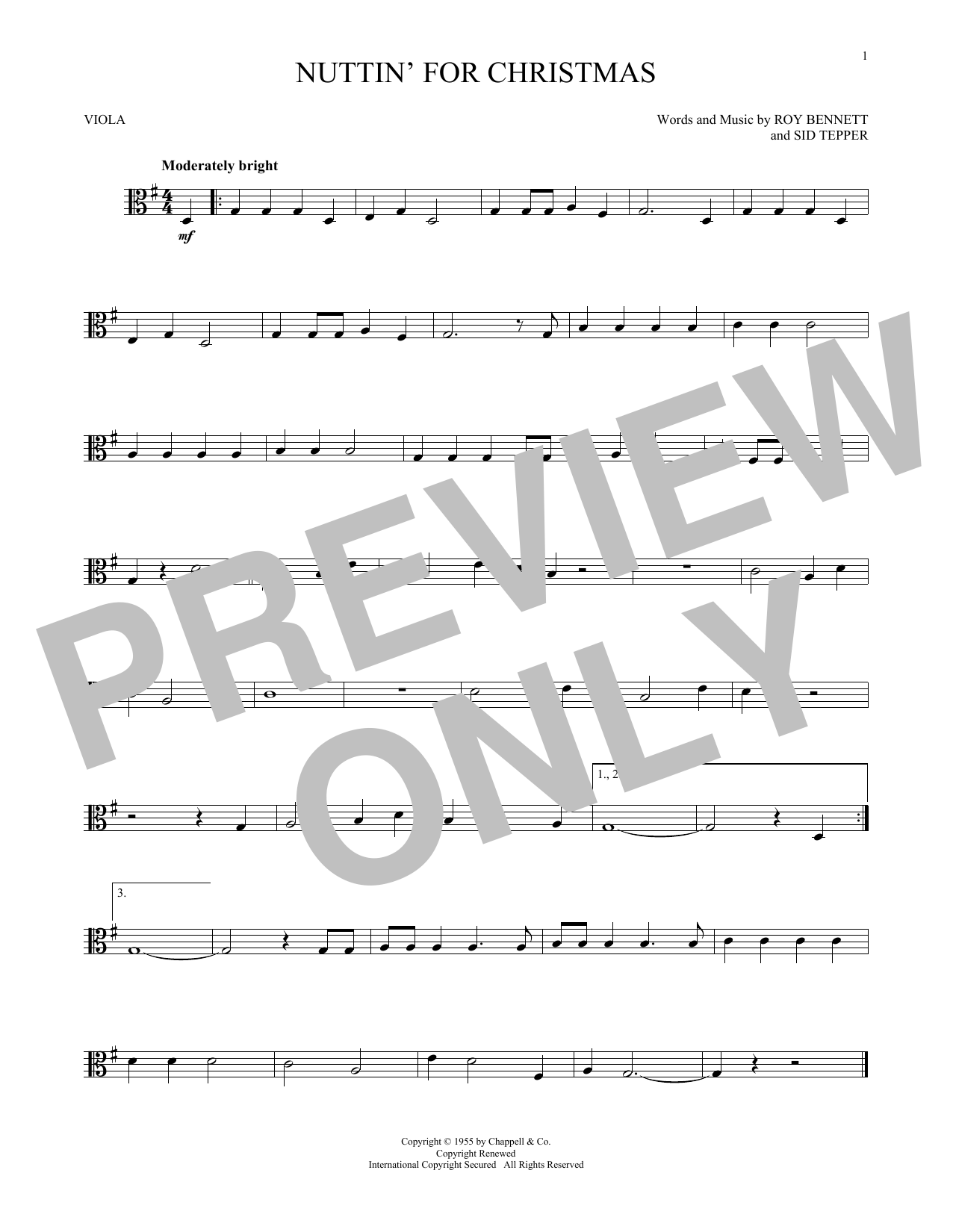 Nuttin\' For Christmas Sheet Music by Sid Tepper - Noteflight Marketplace