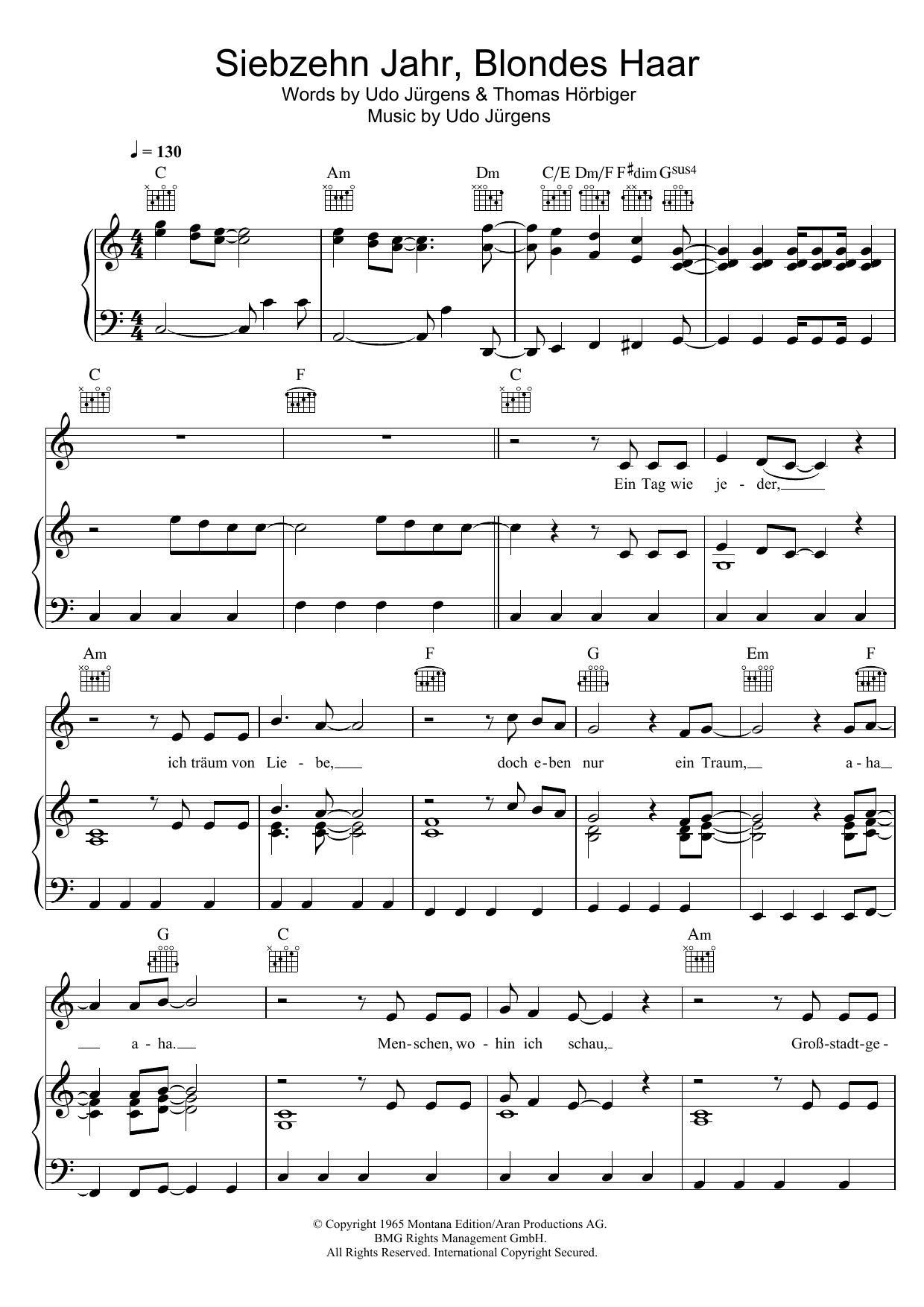 Siebzehn Jahr Blondes Haar Sheet Music By Udo Jürgens For Piano