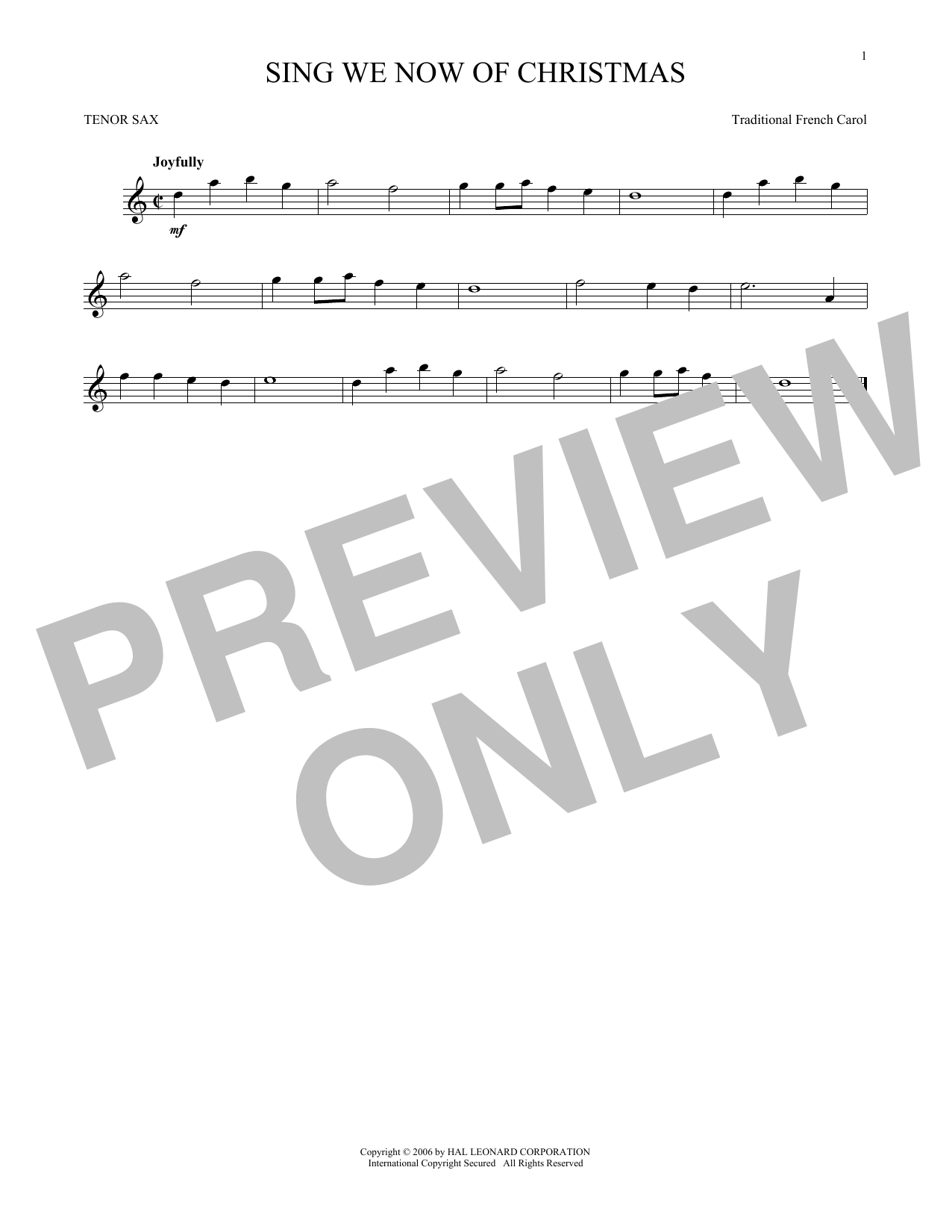 Sing We Now Of Christmas Sheet Music by Traditional French Carol ...
