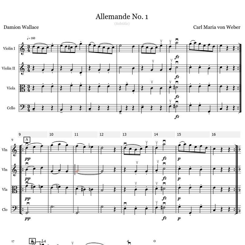 Allemande No  1 (Carl Maria von Weber) for String Quartet