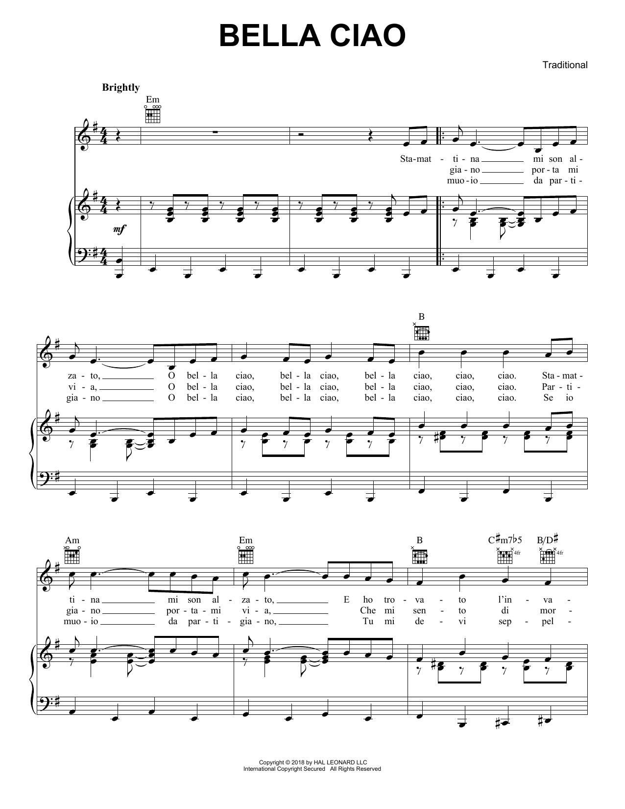 Bella Ciao Piano Sheet Music Pdf Music Sheet Collection
