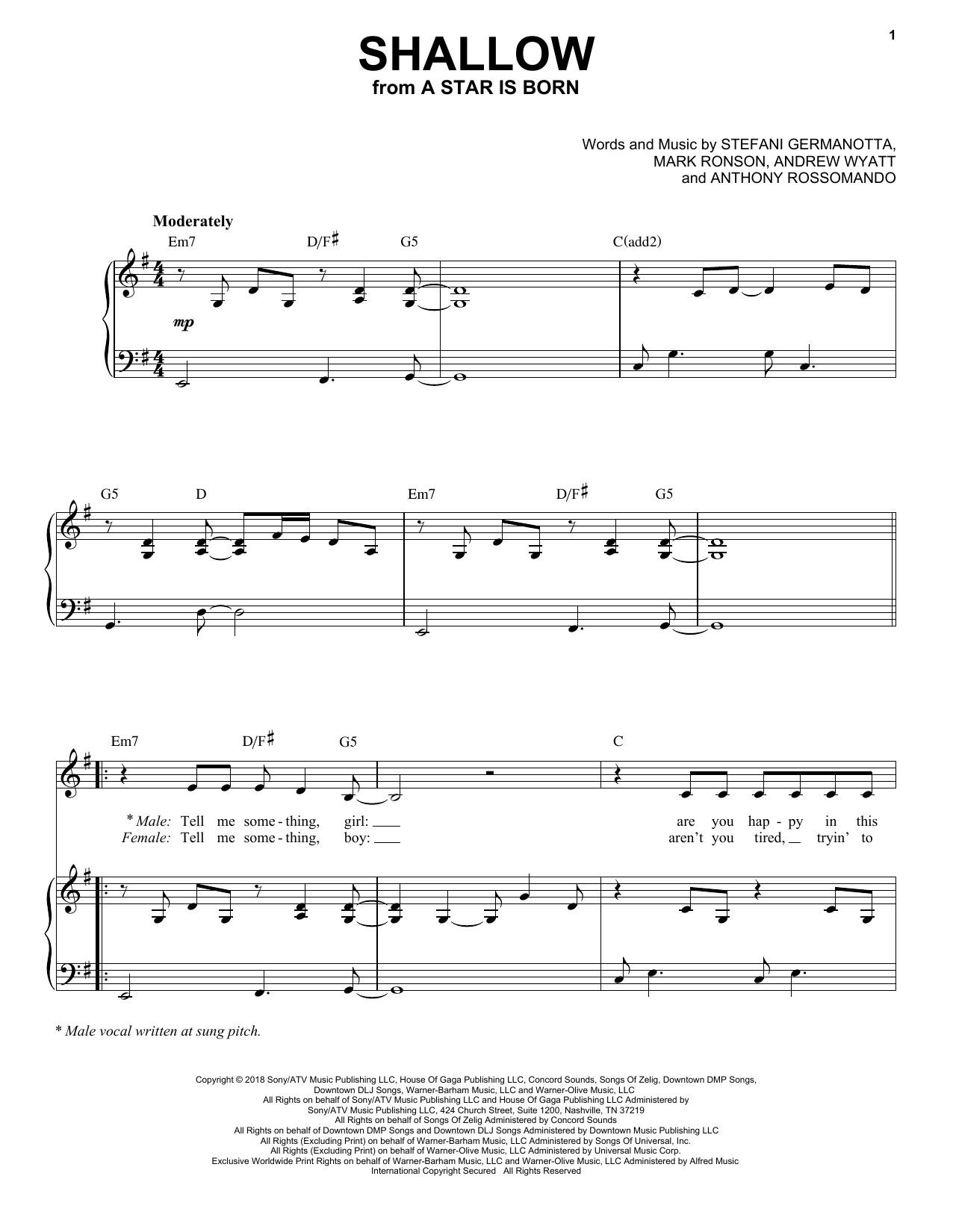 photograph about All of Me Easy Piano Sheet Music Free Printable called Shallow (towards A Star Is Born)