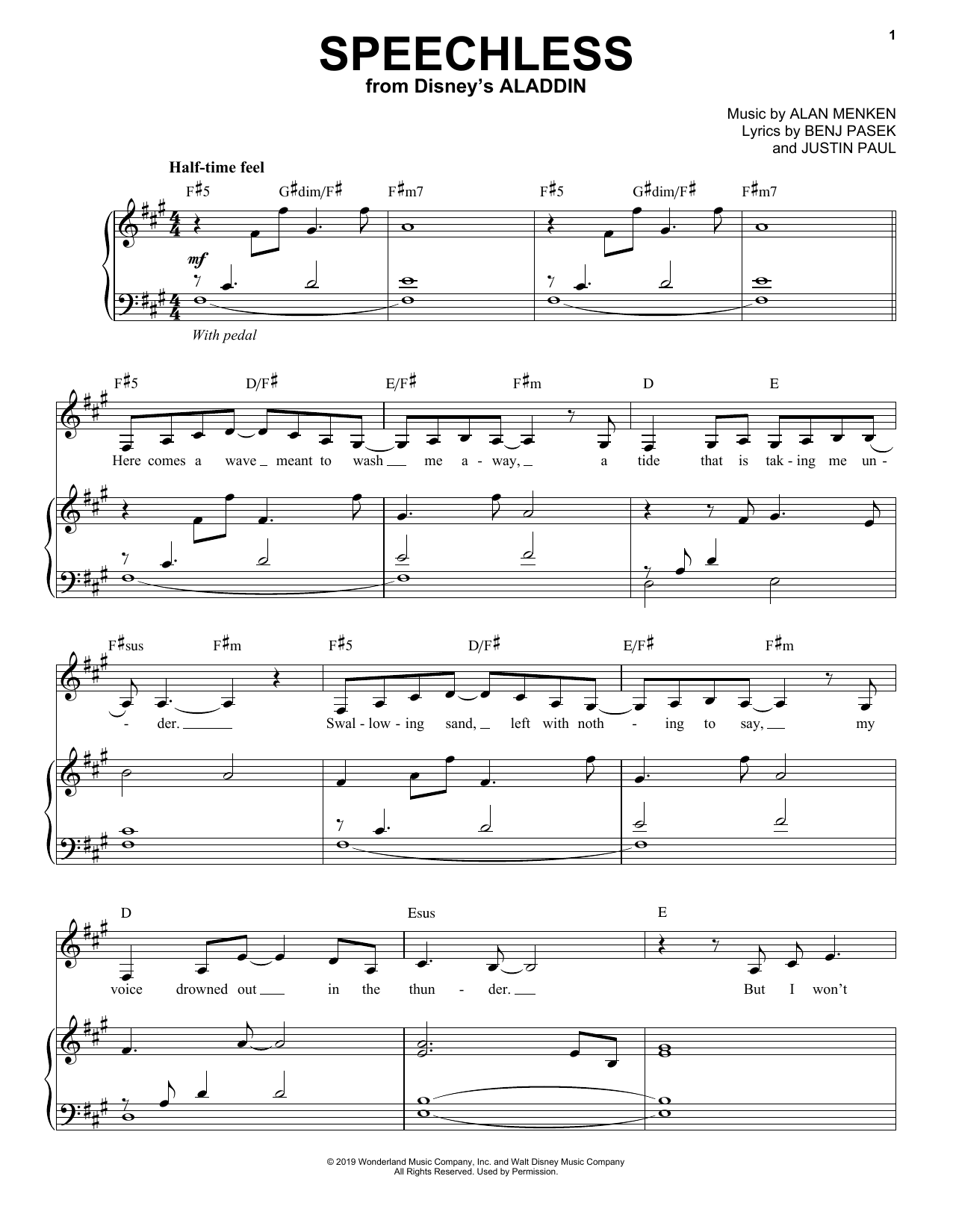 image regarding Disney Piano Sheet Music Free Printable called Speechless (against Disneys Aladdin)