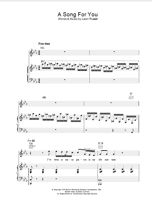 a song for you piano sheet music free